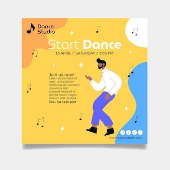 Modèle de flyer commencer la danse au carré