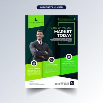 Modèle de flyer commercial avec un design vert