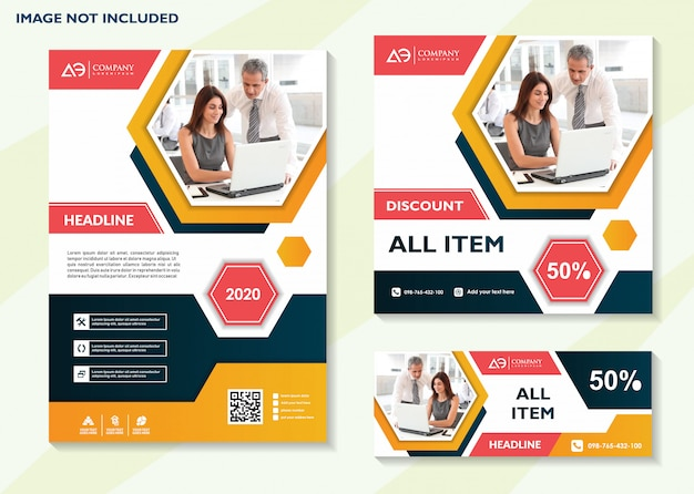 Modèle de flyer commercial modèle de médias sociaux