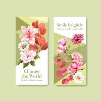 Modèle de flyer avec la conception de bouquet de fleurs pour le concept de journée mondiale du sourire à la brochure et au marketing illustraion de vecteur aquarelle.