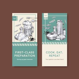 Modèle de flyer avec conception de concept d'appareils de cuisine pour illustration vectorielle brochure