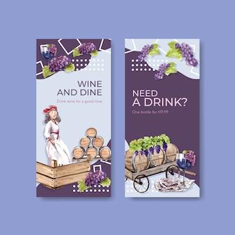 Modèle de flyer avec conception de concept de ferme viticole pour brochure et illustration aquarelle marketing.