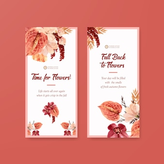 Modèle de flyer avec conception de concept de fleur automne pour brochure et dépliant