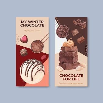 Modèle de flyer avec conception de concept hiver chocolat pour brochure et dépliant illustration vectorielle aquarelle