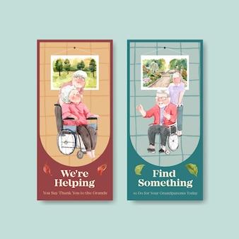 Modèle de flyer avec la conception de concept de jour national des grands-parents pour la publicité et le marketing aquarelle.