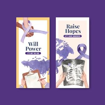 Modèle de flyer avec conception de concept de journée mondiale du cancer pour illustration vectorielle aquarelle brochure et dépliant.