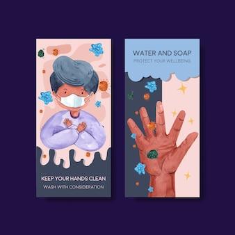 Modèle de flyer avec conception de concept de journée mondiale de lavage des mains