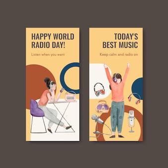 Modèle de flyer avec conception de concept de journée mondiale de la radio pour illustration aquarelle brochure et dépliant