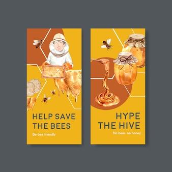 Modèle de flyer avec conception de concept de miel pour brochure et dépliant illustration vectorielle aquarelle