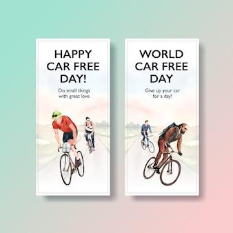 Modèle de flyer avec la conception du concept de la journée mondiale sans voiture