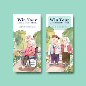 Modèle de flyer avec la conception de la journée nationale des grands-parents