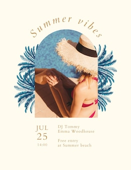 Modèle de flyer de concert d'été avec fond tropical