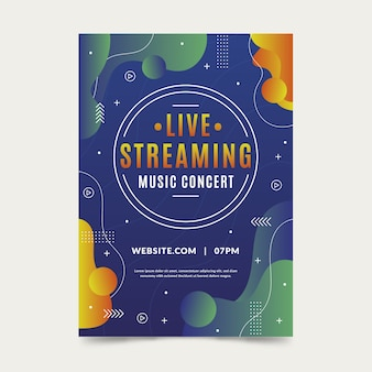 Modèle de flyer de concert de musique en streaming en direct