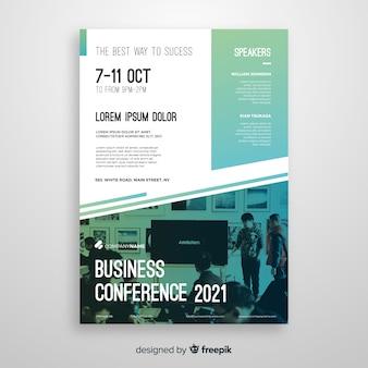 Modèle de flyer conférence plat abstrait