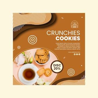 Modèle de flyer de cookies au carré