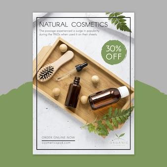 Modèle de flyer de cosmétiques naturels avec photo