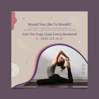 Modèle de flyer de cours de yoga au carré