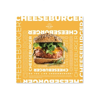 Modèle de flyer de cuisine américaine avec photo de hamburger