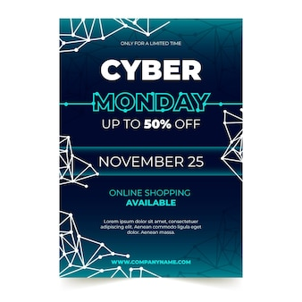 Modèle de flyer cyber lundi au design plat