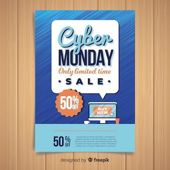 Modèle de flyer cyber lundi avec design plat