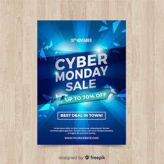 Modèle de flyer cyber lundi avec un design réaliste