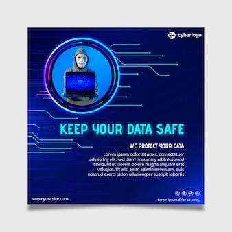 Modèle de flyer de cybersécurité avec photo