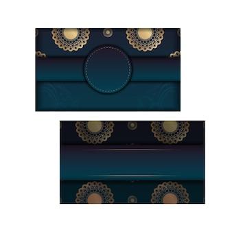 Modèle de flyer avec dégradé de couleur bleu avec motif mandala doré pour vos félicitations.