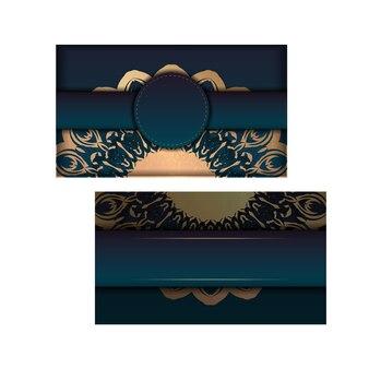 Modèle de flyer avec dégradé de couleur bleu avec ornement mandala en or pour votre conception.