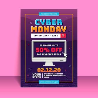 Modèle de flyer design plat cyber lundi