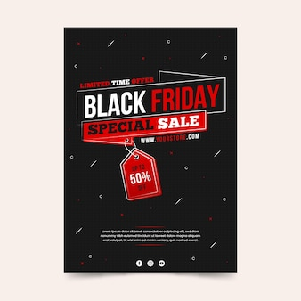 Modèle de flyer dessiné à la main vente spéciale vendredi noir