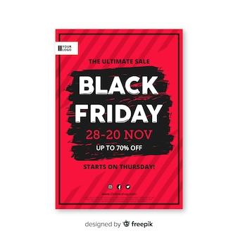 Modèle de flyer dessiné vendredi noir à la main