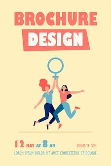 Modèle de flyer de deux filles tenant un symbole féminin