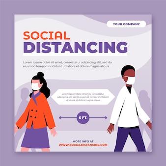Modèle de flyer de distance sociale