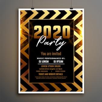 Modèle de flyer doré et noir du nouvel an 2020