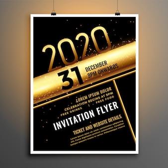Modèle de flyer du nouvel an 2020 noir et or