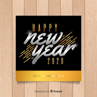 Modèle de flyer du nouvel an en or