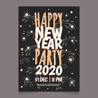 Modèle de flyer du parti dessiné main nouvel an 2020