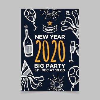 Modèle de flyer du parti dessiné main nouvel an
