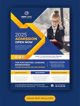 Modèle de flyer d'éducation des enfants d'admission à l'école