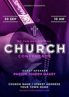 Modèle de flyer d'église dégradé avec photo
