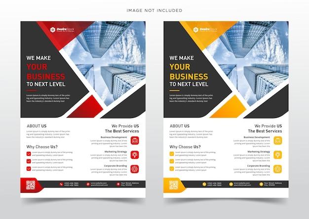 Modèle de flyer d'entreprise créative avec modèle de jeu de couleurs orange et rouge