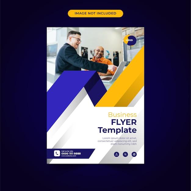 Modèle de flyer d'entreprise avec un design moderne bleu jaune