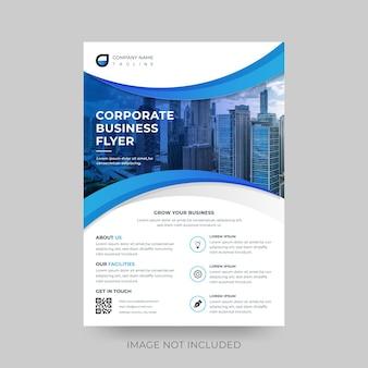 Modèle de flyer d'entreprise et d'entreprise propre moderne bleu vague