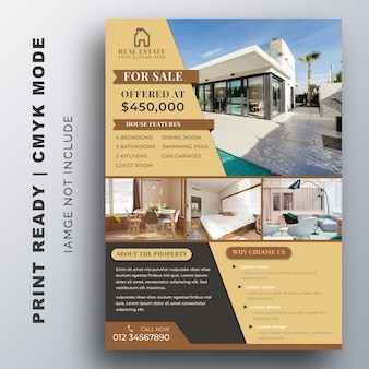 Modèle de flyer d'entreprise immobilière.