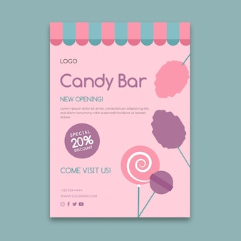 Modèle de flyer d'entreprise rose candy bar