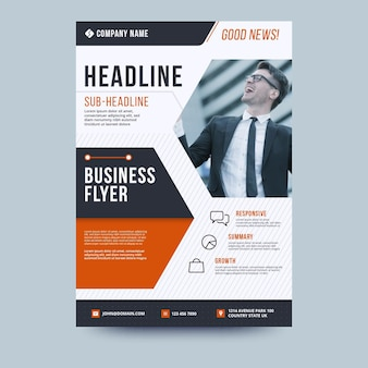 Modèle de flyer d'entreprise titre et homme d'affaires