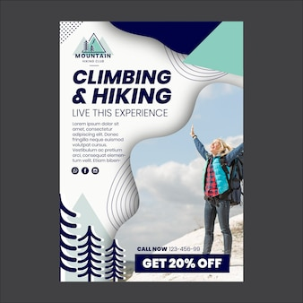 Modèle de flyer d'escalade et de randonnée