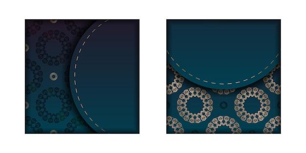 Modèle flyer de félicitations avec dégradé de couleur bleu avec motif mandala doré préparé pour l'impression.