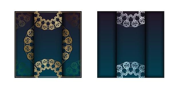 Modèle flyer de félicitations avec dégradé de couleur bleu avec motif mandala doré préparé pour la typographie.
