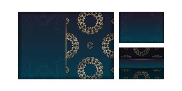Modèle flyer de félicitations avec dégradé de couleur bleu avec ornement mandala en or préparé pour l'impression.